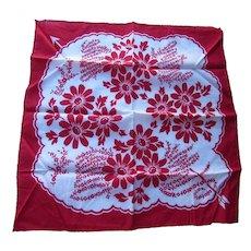 Valentine Theme Handkerchief Red White Flowers