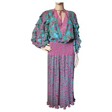 Gorgeous Flouncy Dress in Emerald and Fuchsia Boho Style Calypso Vibe Assorti for Susan Freis Small/Medium