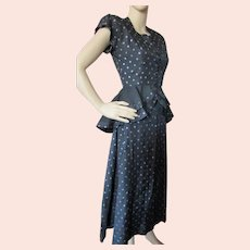 1940 Era Two Piece Peplum Top & Skirt Black Blue Polka Dots Evelyn Alden Size 9