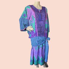 Boho Style Two Piece Top Skirt Shepherd's Australia Multiple Patterns Turquoise Purple '80s/'90s Style