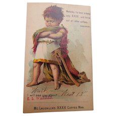 Vintage Postcard Sep 11 1893 McLaughlin's XXXX Coffee Man with Pouting Boy in Roman Costume Omaha to Holdrege Nebraska