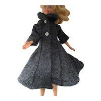Teen Fashion Doll Barbie Style Gray Flannel Coat