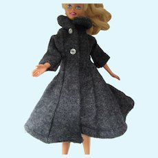 Teen Fashion Doll Barbie Style Gray Flannel Coat