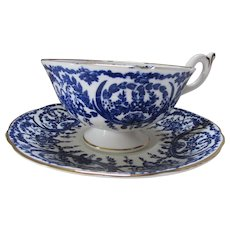Coalport Cup and Saucer Bone China Cobalt Blue White Baskets & Scrolls Pattern 5012a 1960 Mark Discontinued