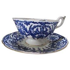 Coalport Cup and Saucer Bone China Cobalt Blue White Baskets & Scrolls Pattern 5012a 1960 Mark Discontinued
