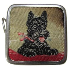 Cutest Vintage Scotty Dog Retractable Tape Measure in Black and Red West Germany Free Shipping USA
