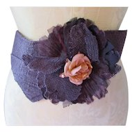 Prettiest Ladies Belt in Plum Texture with Large Bow and Pink Rose Tone Rosette 90's Style