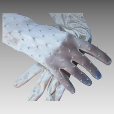 Bridal Gloves Winter White Beaded Mid Arm Length Mon Cheri Bridals Made in Hong Kong