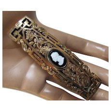 Unusual Filigree Rectangle Buckle with Small Black and White Cameo