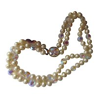 Marvella Faux Pearl Choker Necklace Bezel Set Clear Stone