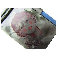 Miniature Memo Pad 1930 1940 Pretty Girl on Green Celluloid Aide Memoire