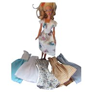 "Six Doll Dresses Same Style Different Prints For Barbie and Her 11 1/2"" Fashion Doll Friends"