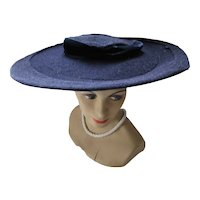 Wide Brim Navy Picture Hat Mid Century Style for Spring & Summer Church or Derby