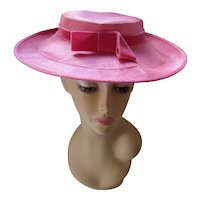 Pretty Brim Hat in Peony Pink Shantung and Velvet for Spring Summer Church