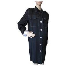 Coat or Coat Dress Black with Silver Accents David Warren