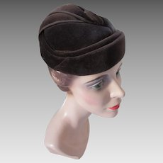 Handsome Chocolate Brown Velvet Hat Made in England by Connor