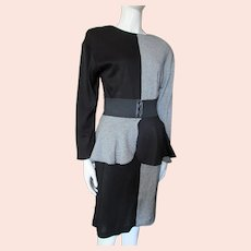 1980 Style Block Black & Black White Houndstooth Peplum Belt Isadora Dress