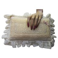 Romantic Style Lace Pillow or Pincushion with Pink Trim and Ruffled Lace Border