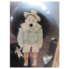 Vintage Framed Cut Out of Crying Boy in Full Color
