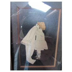 Vintage Framed Cut Out of Little Girl in Petticoat as She Finishes Toilette