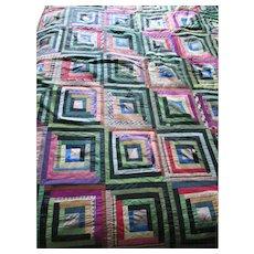 Silk Crazy Quilt in Log Cabin Design Green Black Dominant