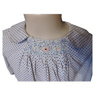 Girl's Dress in Blue and White Polka Dot with Smocking and Pink Embroidered Flowers