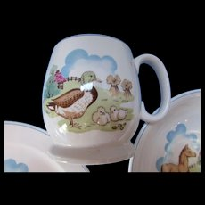 Copeland Spode England Pets Farm Child Breakfast or Lunch Set 3 Pieces
