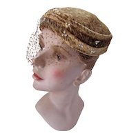 Mid Century Pill Box Style Hat in Copper Velvet and Seed Beads
