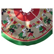 Painted Burlap Christmas Tree Skirt with Nordic Theme Dancing Couples in Bright Reds and Green Signed Hill