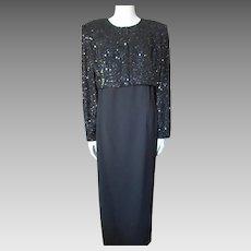 Sophisticated Evening Gown and Jacket in Black Sequins and Crepe Montage Night by Mon Cheri Size 14
