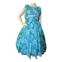 Pretty Summer Cocktail or Prom Dress in Teal & Green Floral 1960 Era
