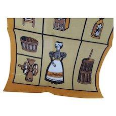 Kitchen Towel California Hand Prints Ochre Mustard  Primitive Kitchen Victorian Style Maid