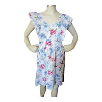 Sweet Pinafore Style Full Apron Pink & Blue Flowers