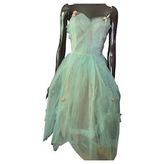 1950 Era Prom Dance Dress in Mint Tulle with Pink Roses