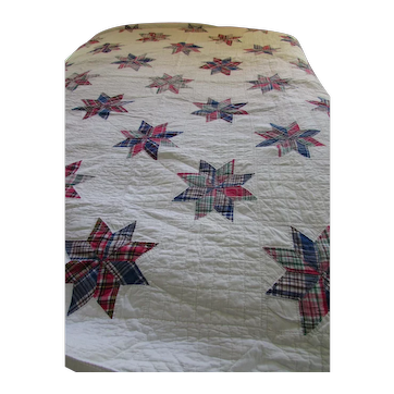 Quilt Eight-Side Star Plaid Green Red Blue Hand Stitched Twin Size