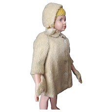 Child or Large Doll Winter Coat, Mittens, Bonnet in Curly Cream Boucle