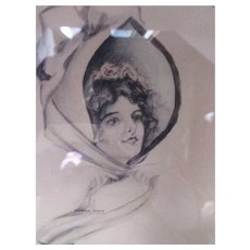 Framed Print Marion Reed Early 19th Century Artist Sweet Woman in Bonnet with Poem Tying Her Bonnet