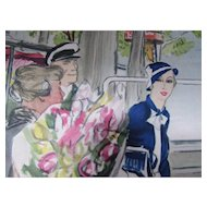 Vintage Deco Style Fashion Print of Sophisticated Lady Titled Promenade by Eric Paris