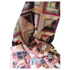 Handmade Log Cabin Quilt Piece in Velvet and Corduroy with Extra Silky Squares Fall Colors