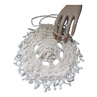 Crochet & Bead Purse or Work Bag Cream Tone