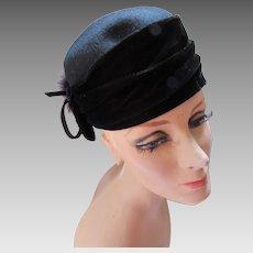 Black Felt and Velvet Hat with Back Fur Puff Italian Made Galliano Sorbatti