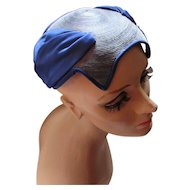 Vintage Half Hat in Soldier Blue Satin and Blue Gray Cord with Curved Clam Shell Design 1950 Era