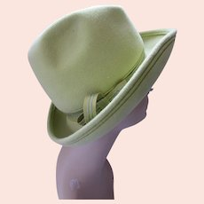 Mid Century Felt Hat Rolled Brim Lime Green Juli Kay Made in Italy