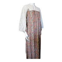 Boho Style Long Dress Lace & Floral Print Brown & Rust