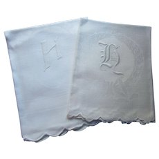 Pair Pristine White Guest Towels Monogram H Old English Font and Angle Font Scallop Edge