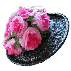 Beautiful Black Wide Brim Hat with Profusion of Peony Pink Roses Mr. Joseph's