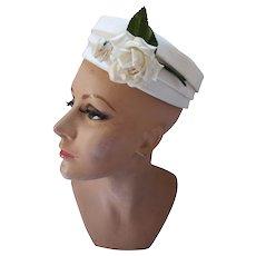 Mid Century White Pill Box Hat White Rose Accent