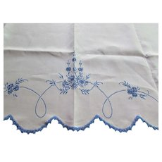 Lovely Pristine White Table Runner or Dresser Scarf with Blue Swag Embroidery and French Knots