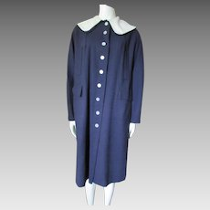 Ladies School Girl Madeline Style Coat in Navy with Wide White Collar