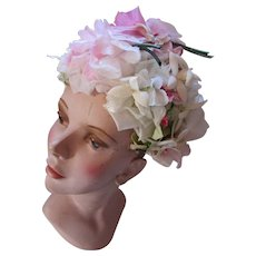 Mid Century Spring Summer Hat Bouffant Style in Lovely Shades of Pink and White Flowers Gene Doris
